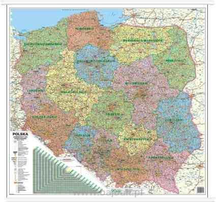 Polska Mapa Administracyjno Samochodowa 100x100 1 750 000